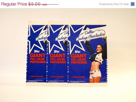 ON SALE Dallas Cowboy Cheerleaders Giant Photocards Topps 1981 Lot of 3 Packs - WonderlandToys