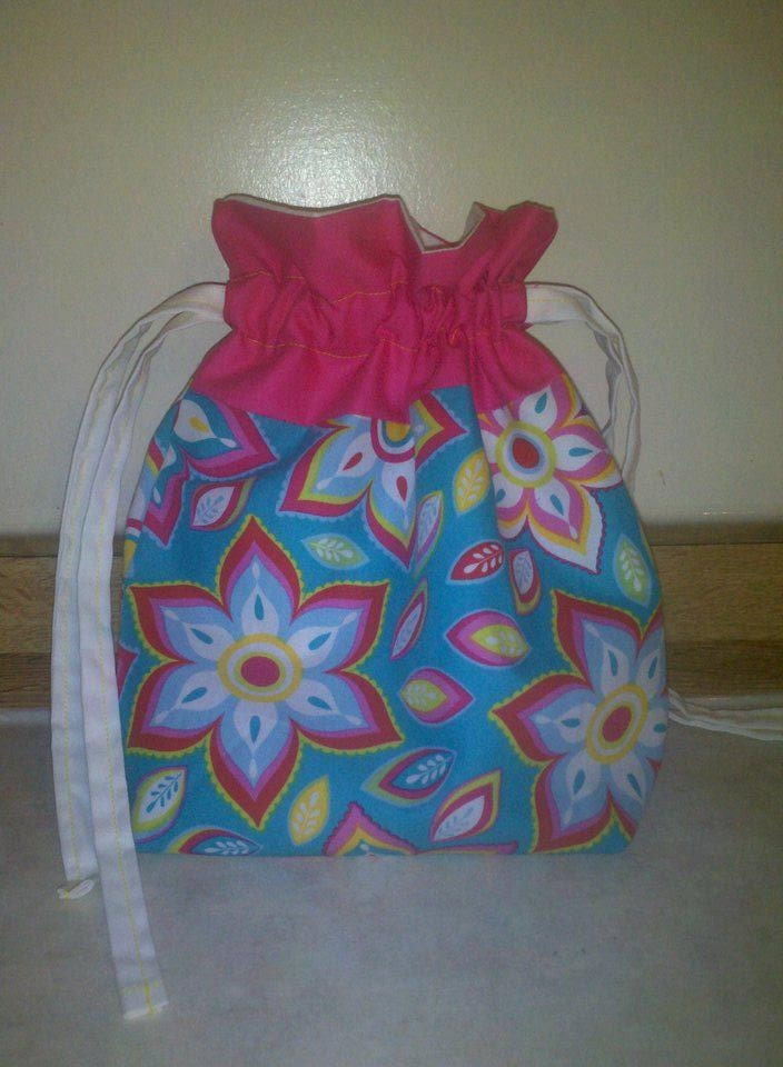 Lined Drawstring Bag-flowers