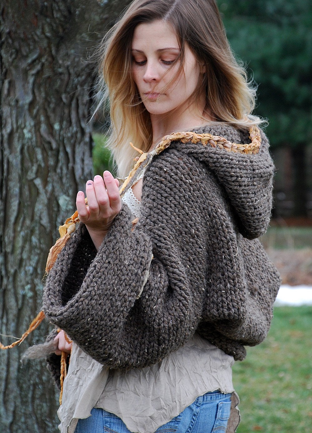 FREE US SHIPPING  ooak woodland shrug artistically by EarthenPurl from etsy.com