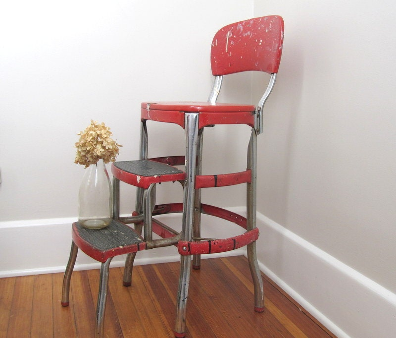 cosco shabby chic kitchen stool red by oldgoatandhorse on etsy. Black Bedroom Furniture Sets. Home Design Ideas