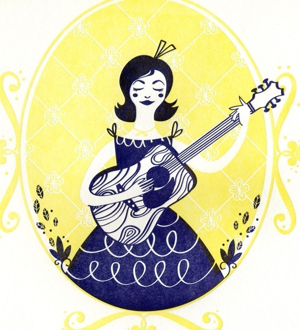 Girl and Guitar Letterpress Print
