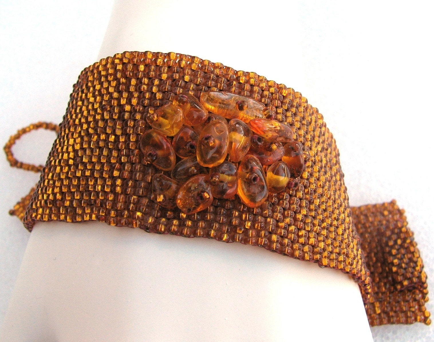 Topaz with Amber Peyote Cuff (781)