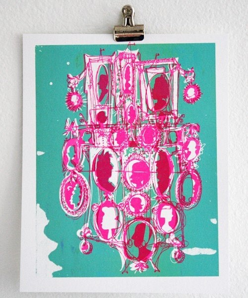 Cameo - cartoon style screen print, seafoam / hot pink (8x10)
