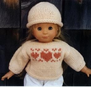 American Girl Doll Knitting Pattern Heart Sweater and Hat PDF on Etsy