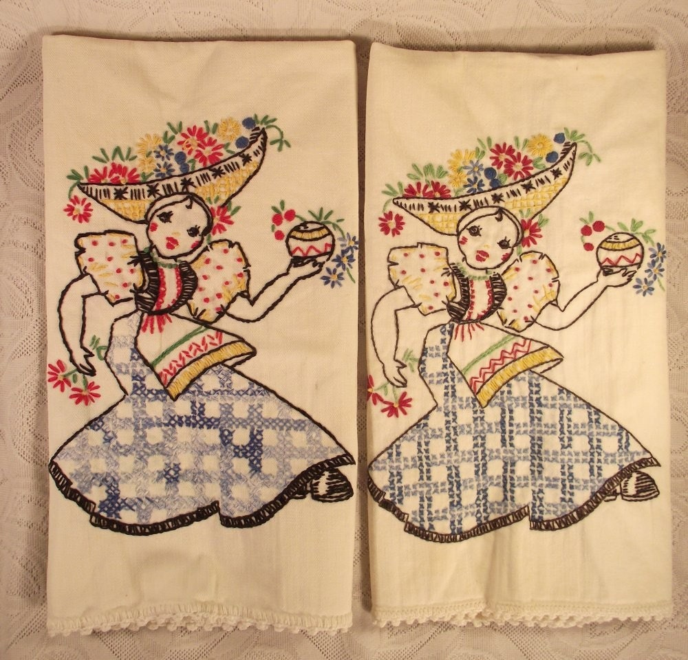 Vintage Kitchen Cloths with Hand Embroidery of Mexican Dancers