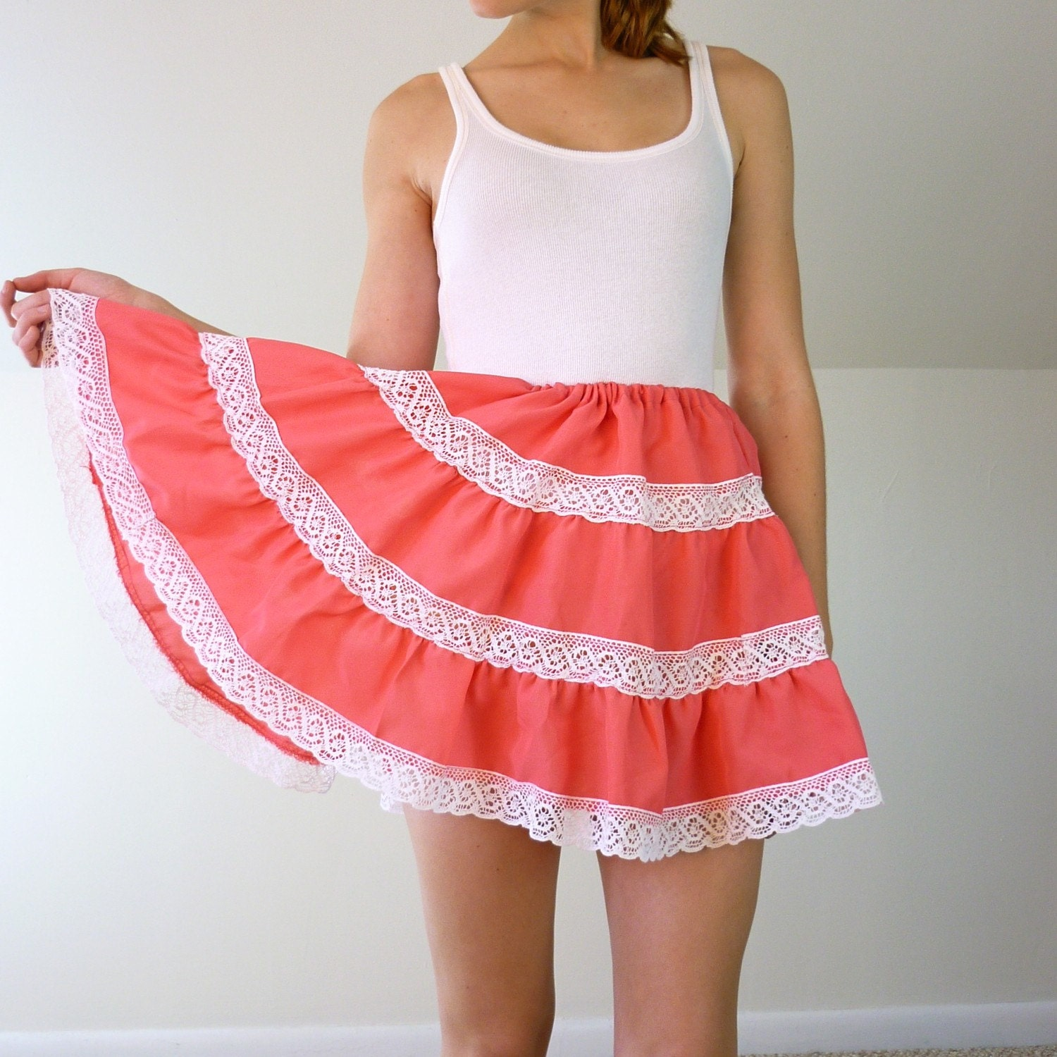 Vintage Pink and Lace Swing Skirt