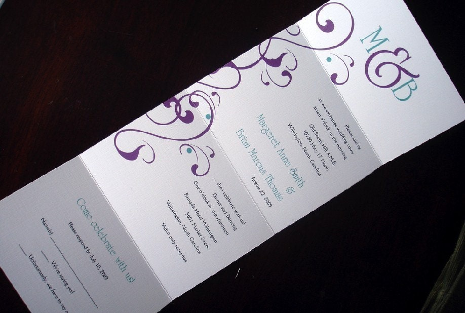 Plum Turquoise Flourish Seal And Send Monogram By Alamodebride