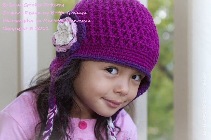 Free Crochet Hat Patterns To Download : Crochet Hat Pattern Textured Earflap Crochet by bubnutPatterns