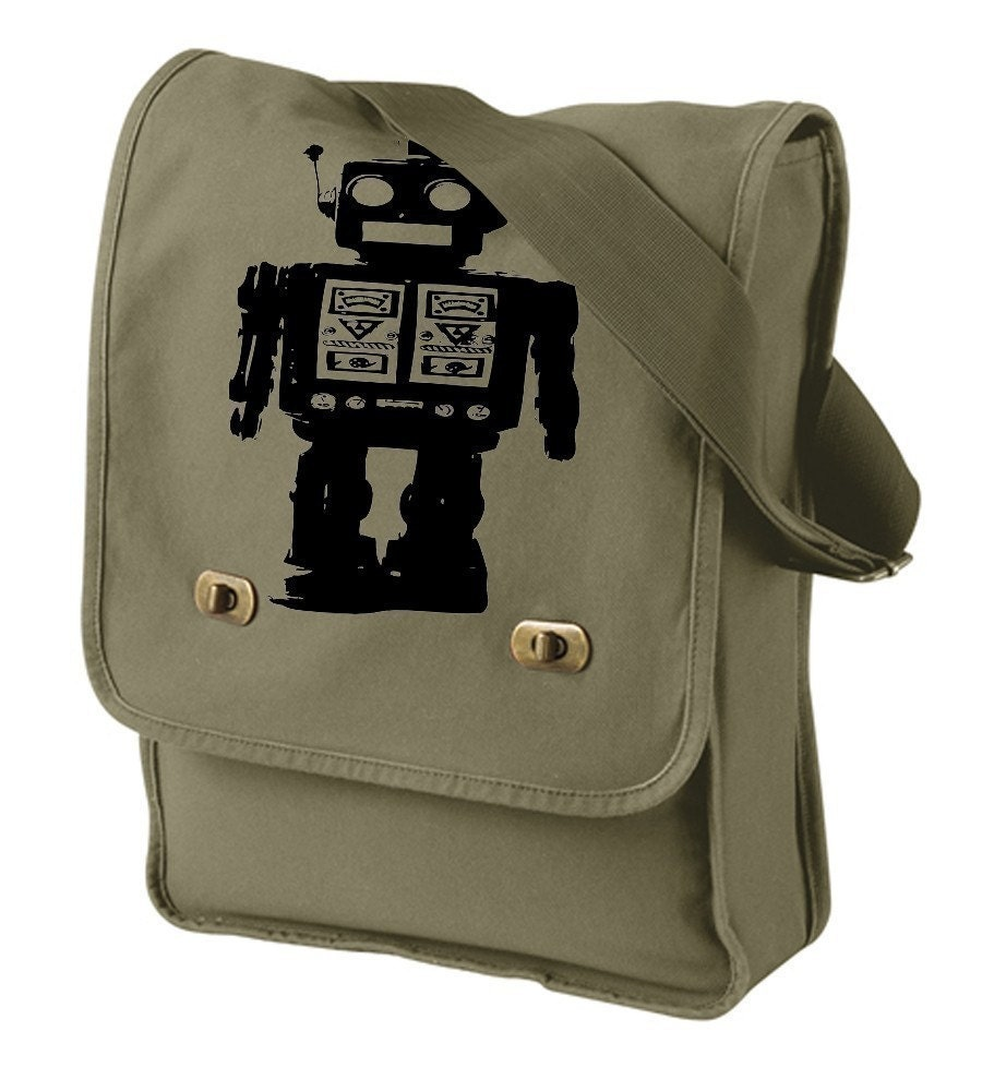 Robot Black Dance Machine Future Style Schematic Messenger / Field Bag Olive Green