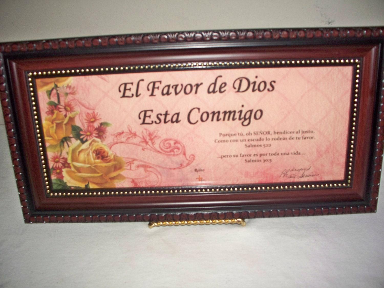 Inspirational Framed WORD Art / El Favor de Dios  Esta Conmigo