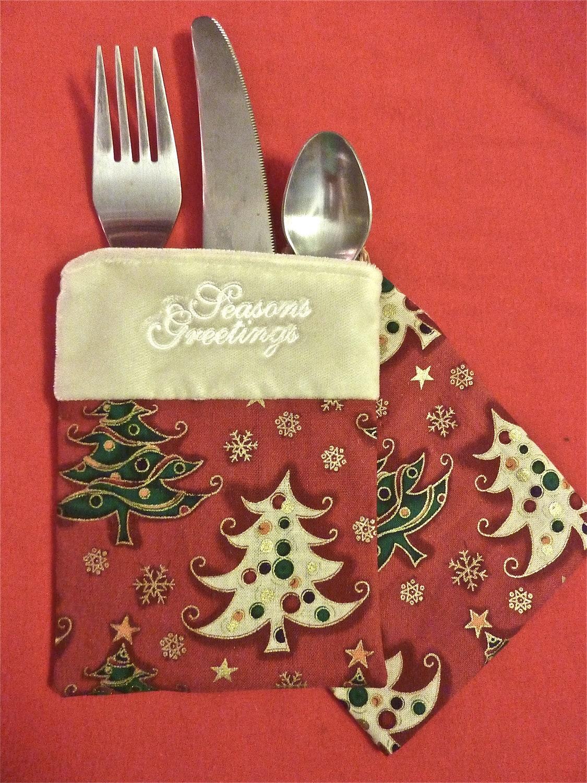 Items similar to velvet christmas silverware flatware