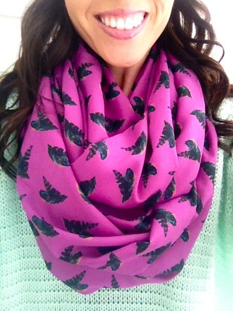 Fuchsia and Feathers Infinity Scarf - dAnnonEtsy