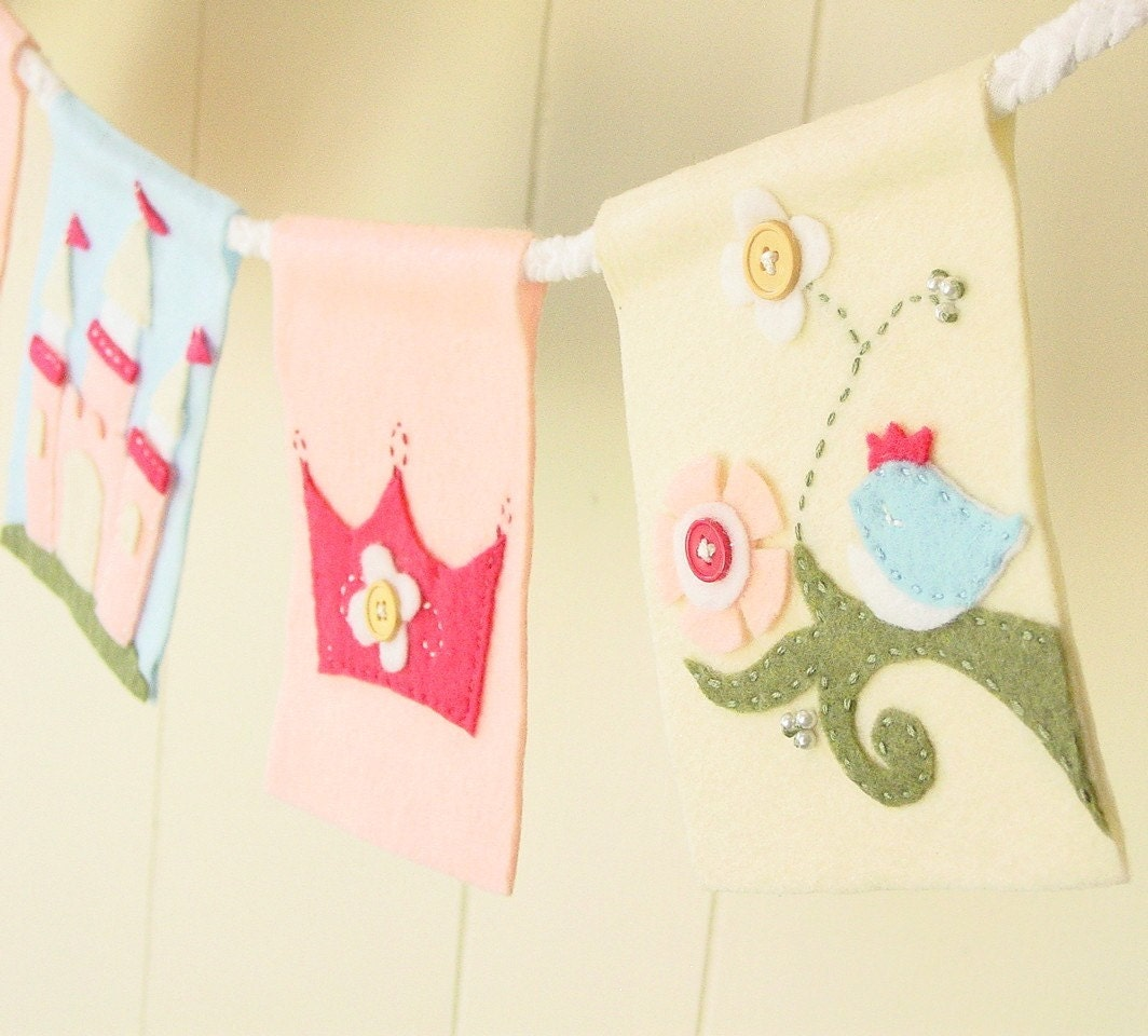 Princess fairy tale themed banner (5 flag)