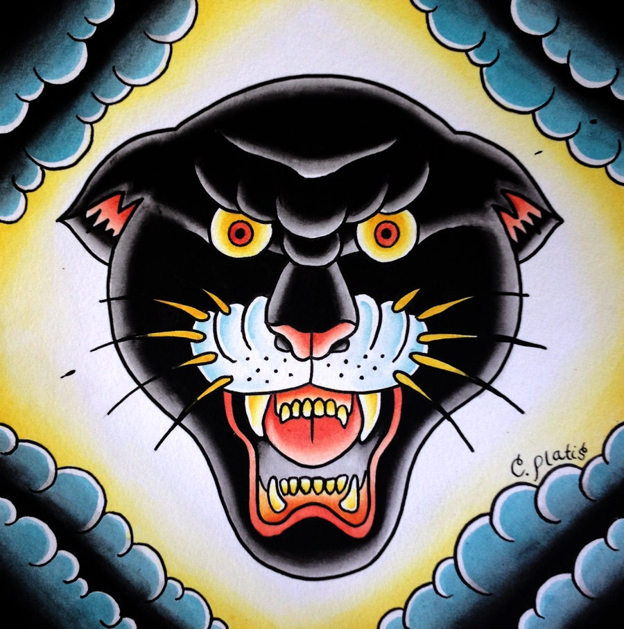 American traditional panther tattoos