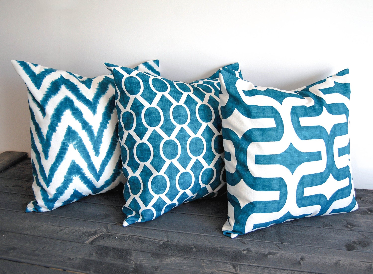 Teal Blue Throw Pillow Covers : Teal throw pillow covers set of three 20 x 20 by ThePillowPeople