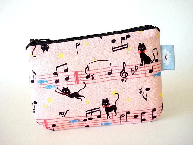 On SALE Now --- Small zipper pouch--- Musical kitty cats