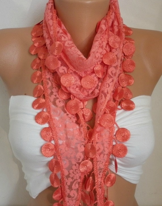Free Shipping - Coral Scarf -  Lace Scarf - Women's fashion - Cowl Scarf - ScarfAge