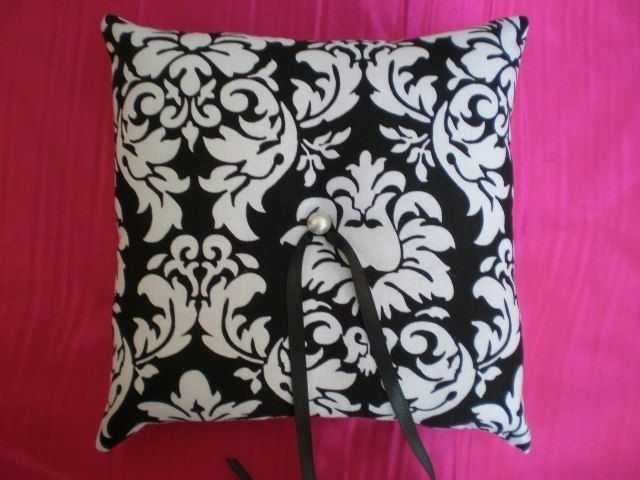 DAMASK Wedding Ring Bearer Pillow in BLACK and White