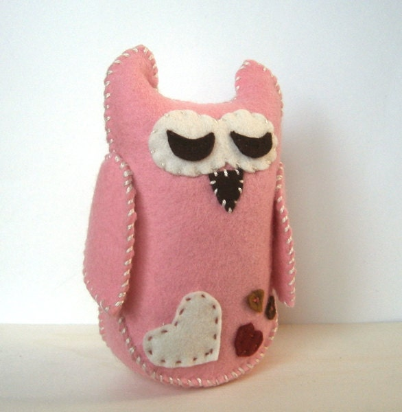 Owl Love You Always, Wool Valentine Gift , Pink Stuffed Animal with Hearts