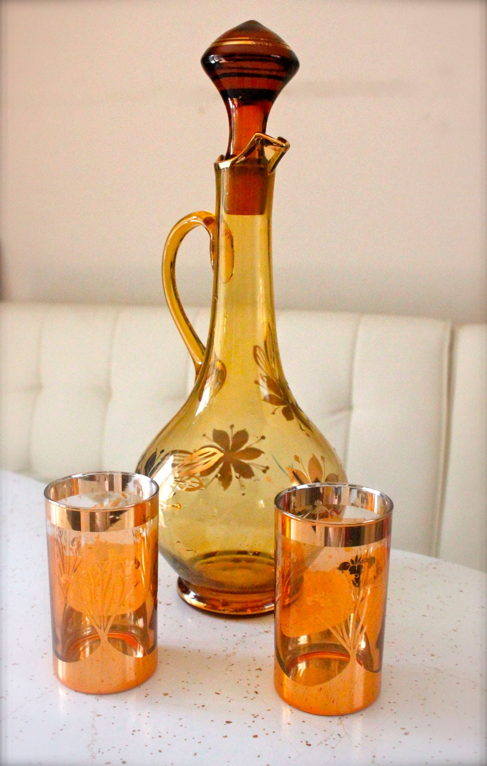 Vintage Amber Glassware Decanter and Matching Glasses