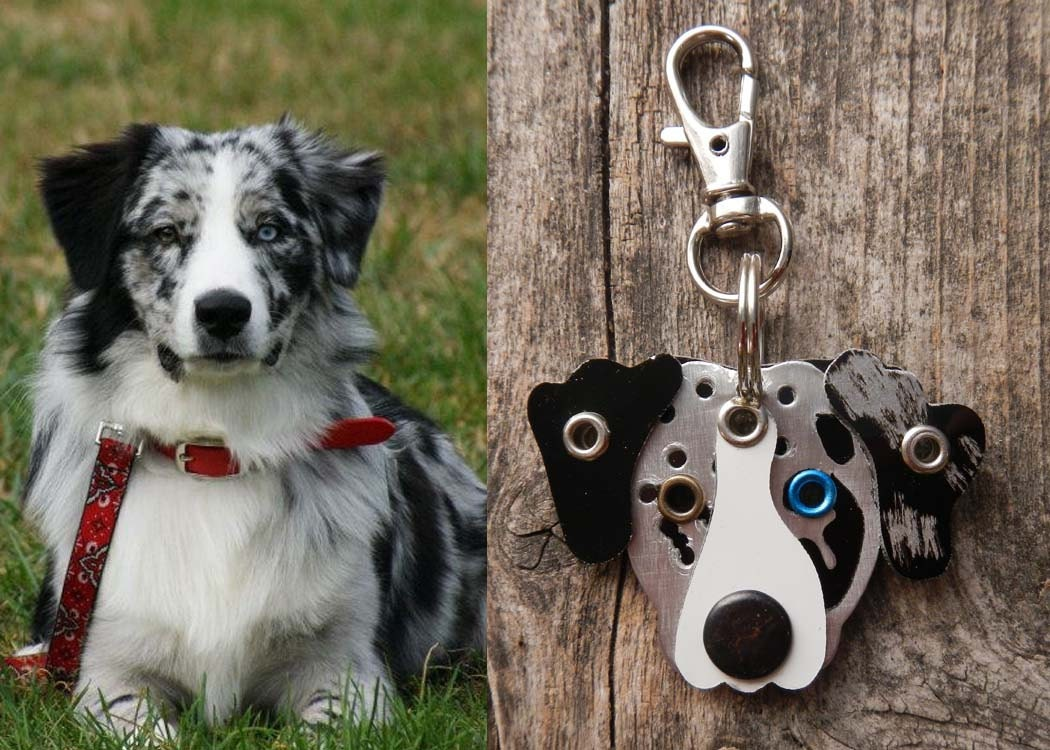 Keychain ID Key Chain Tag Custom Likeness Pooch Dog Pet Lover Aluminum Rivets Stamped