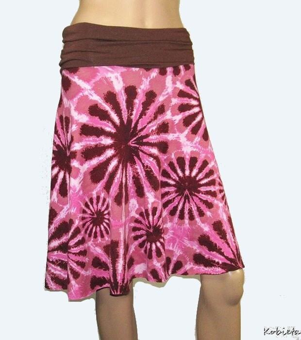 *Kobieta SALE* Womens Pink&Brown Tie Dye Jersey Skirt-Size XXS-SM-1/2 Circle Skirt w/Yoga Waist