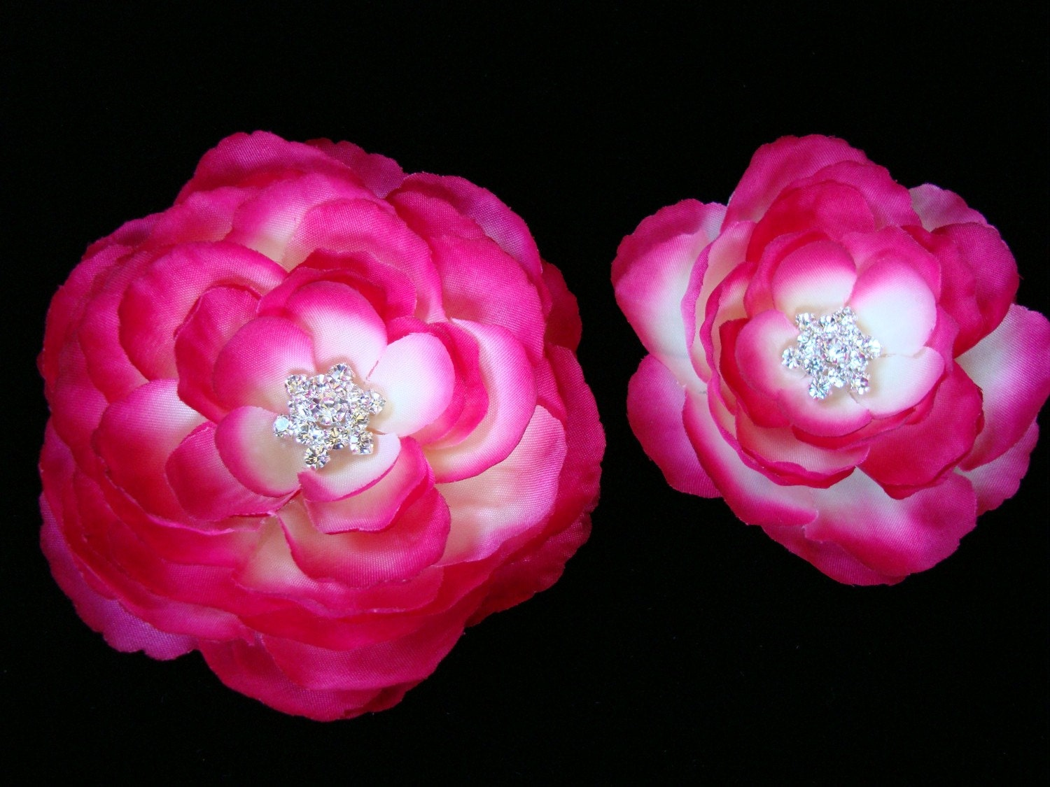 Set of 2 Fuchsia Pink Silk Flowers with Rhinestone Centerpiece Hair pins / Clips / Shoe clips