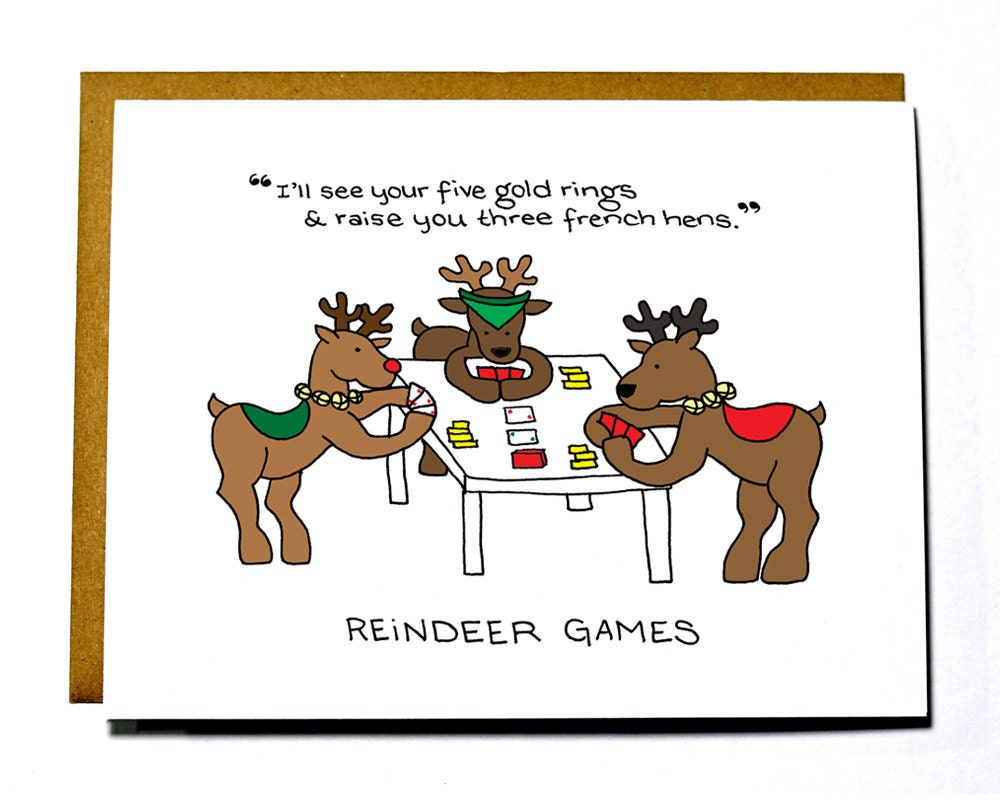 Items similar to funny reindeer games christmas card on etsy for Funny reindeer christmas cards