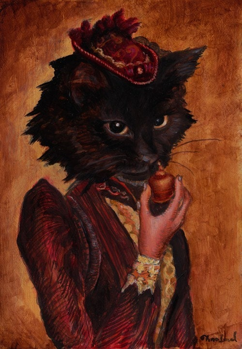 Chat Noir Print Black Cat using Snuff Victorian Anthropomorphic Art Tina Imel Signed