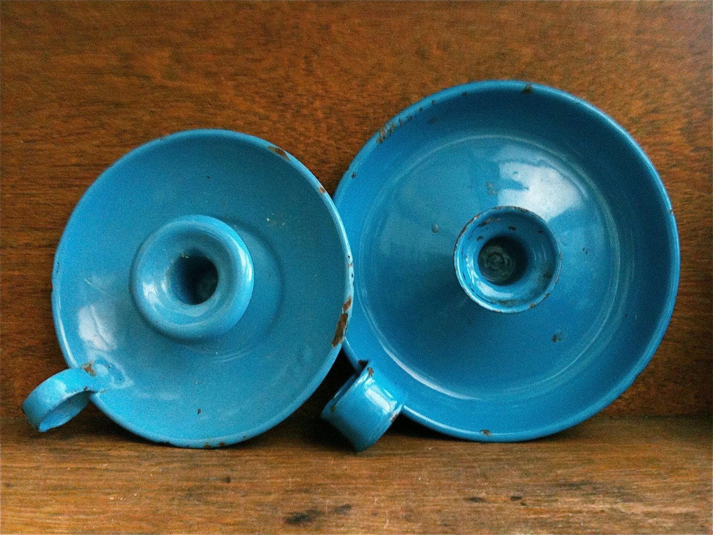 Vintage anglais portebougie mail bleu avec poigne Loop vendu sparement, circa 1920 / English Shop
