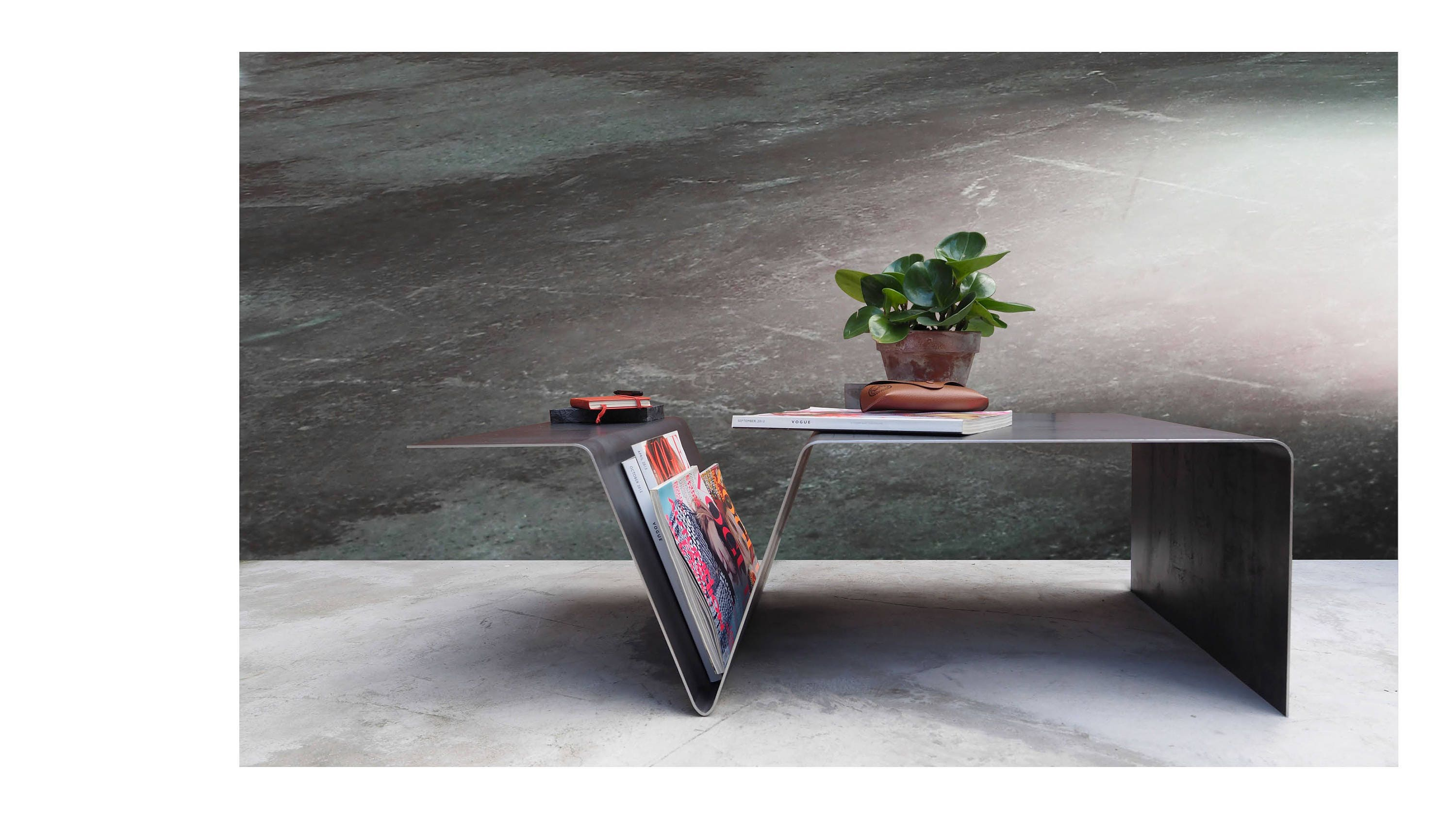Steel Coffee Table  Handmade Furniture  Low Level Table  Industrial design  Small Table Magazine Table  Home Decor