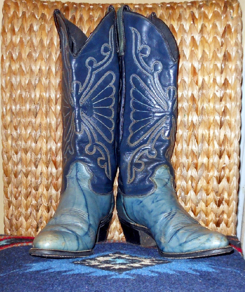 Vintage Blue Cowboy Cowgirl Western Boots By Busstopshop