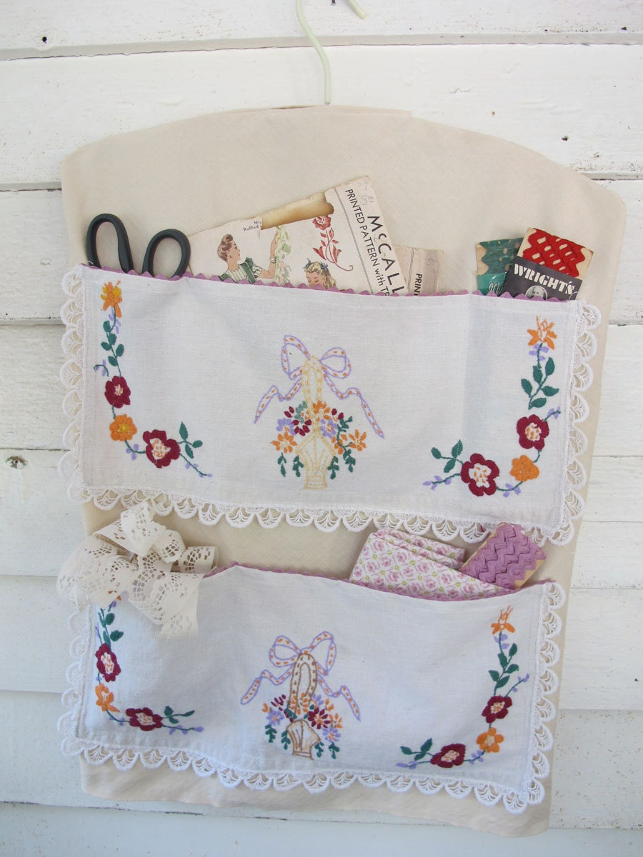 Basket Embroidery Wall Hanging Vintage Linens By Bettyandbabs