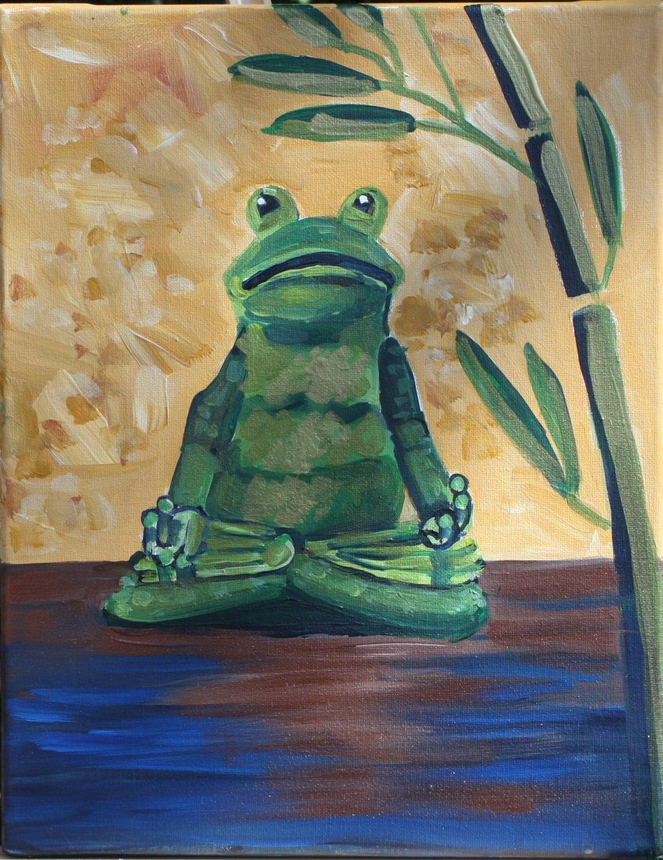 Zen Frog Meditation Art Original Painting Om Budda Bamboo rbrealart - rbealart