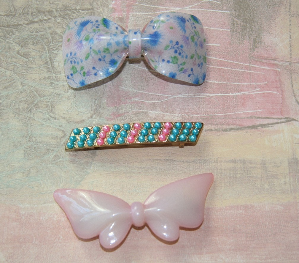 Vintage Barrettes Three - Blue Floral Bow, Turquoise Pink Faux Pearls, Pink Bow - LookHiLookLow