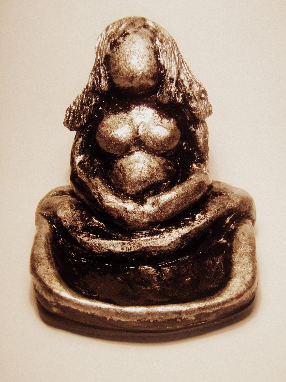 Pregnant Tarnished Silver Goddess Bowl