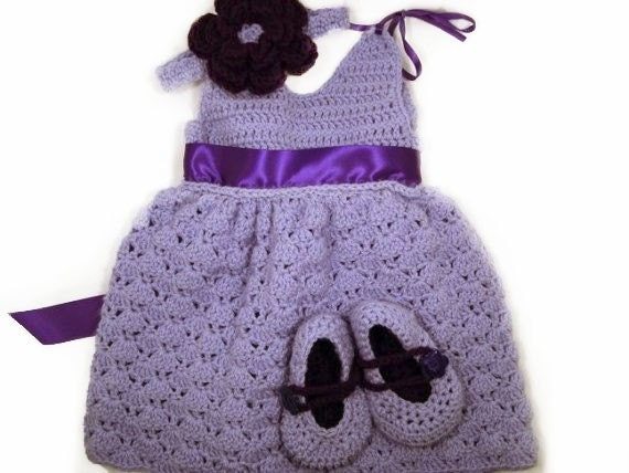 Lavender toddler crochet dress with matching booties and flower