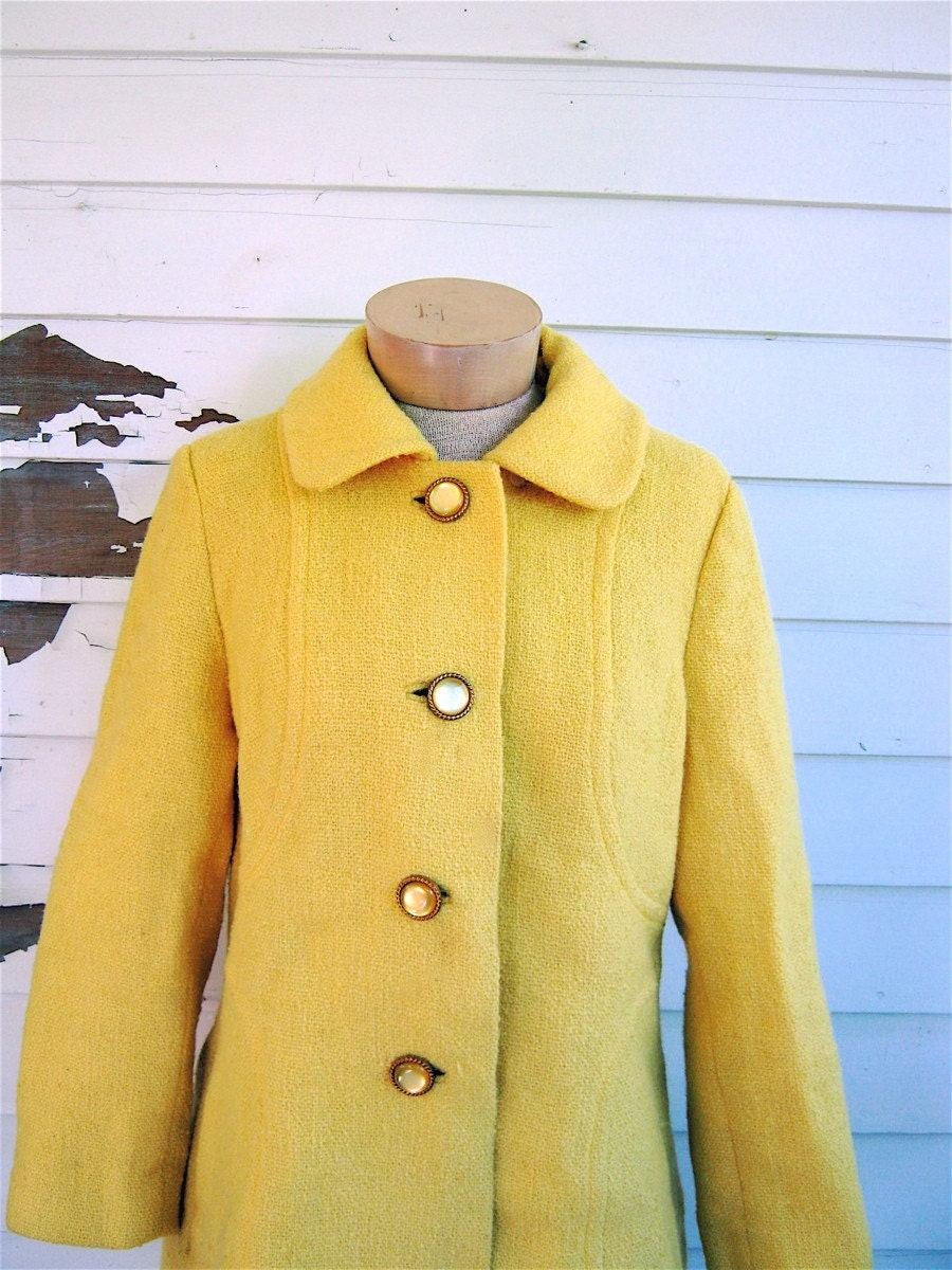Vintage 1960s bright yellow wool coat