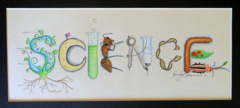 Classroom Decor Science : Science theme name art sign classroom decor by namelyoriginal