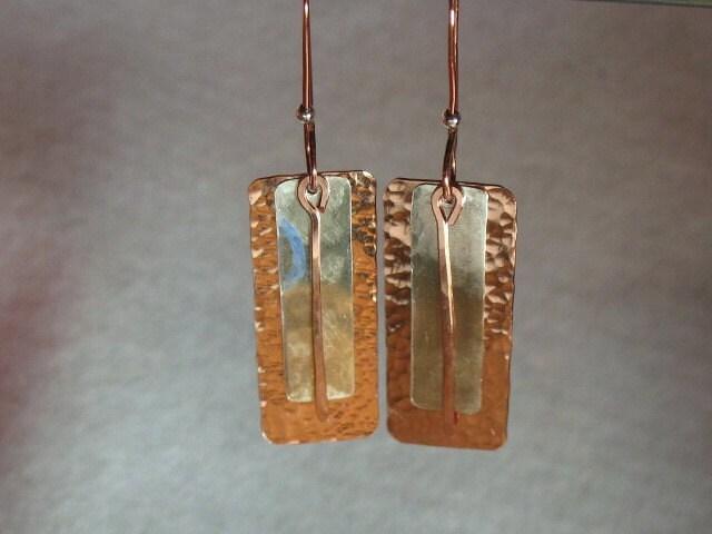 Handcrafted mixed metal dangle earrings