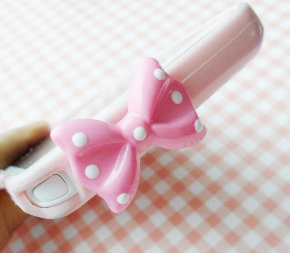 white dot bow earphone plug - Pink