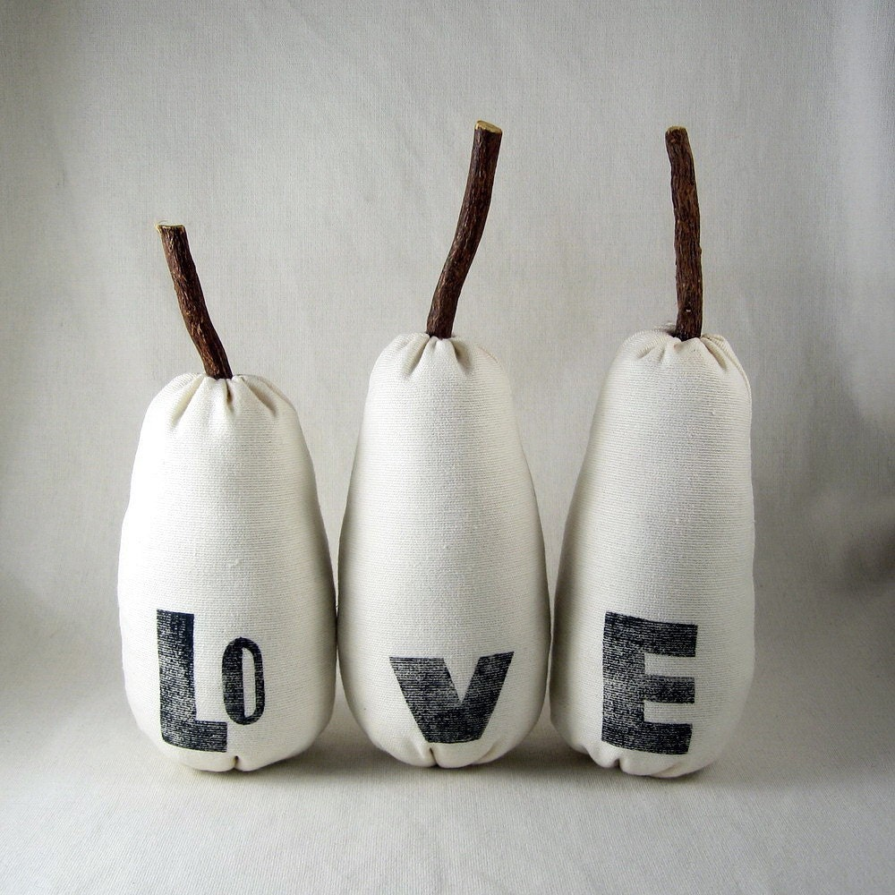 The Love Pears, white plush toys