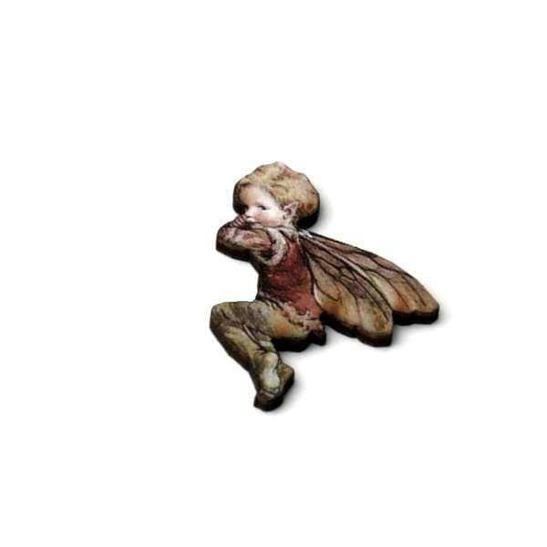 Red Fairy Brooch Faerie Illustration Brooch Pixie Jewelry Wood Brooch Wood Jewelry
