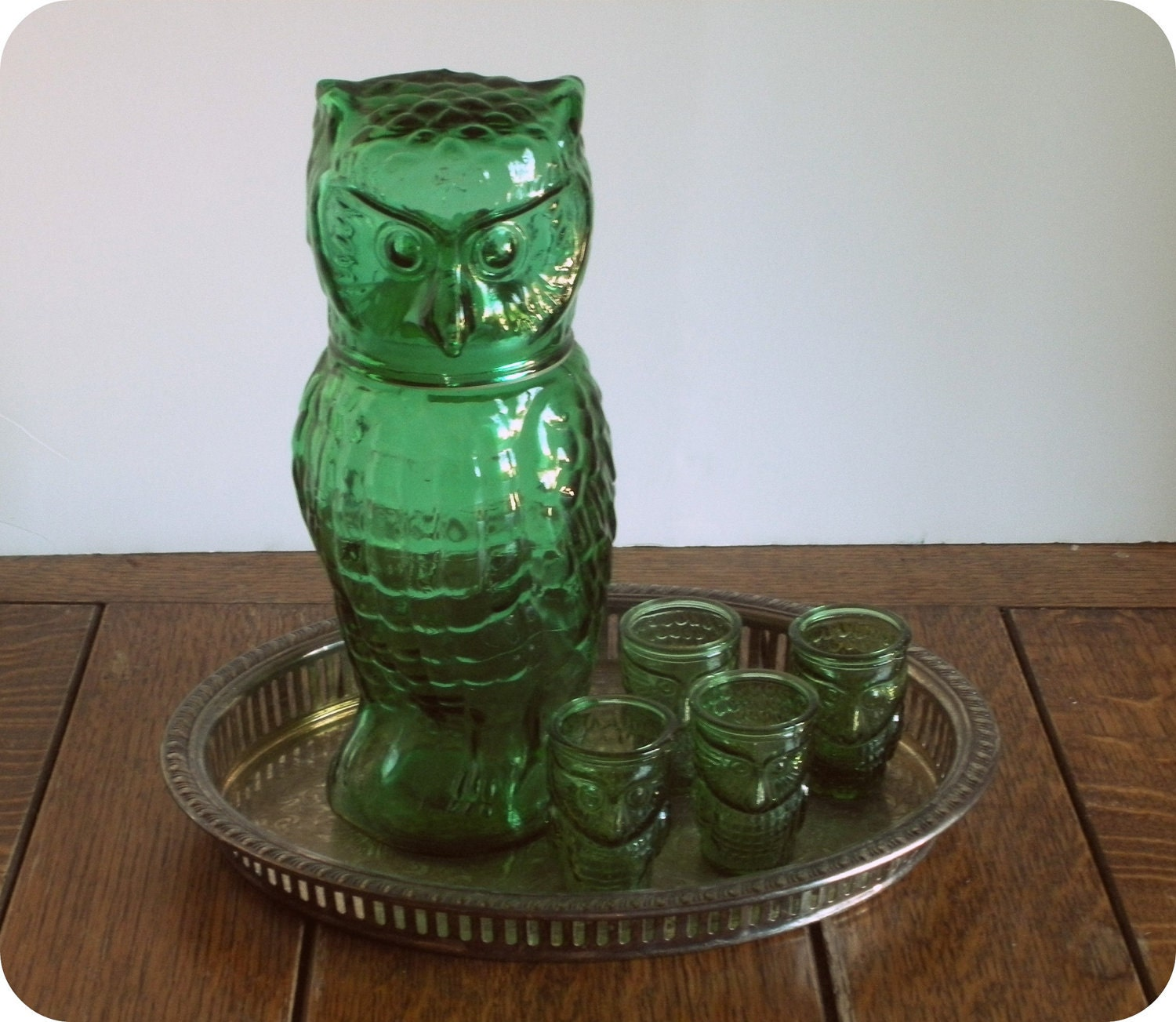 Vintage Owl Decanter with 4 Shot Glasses