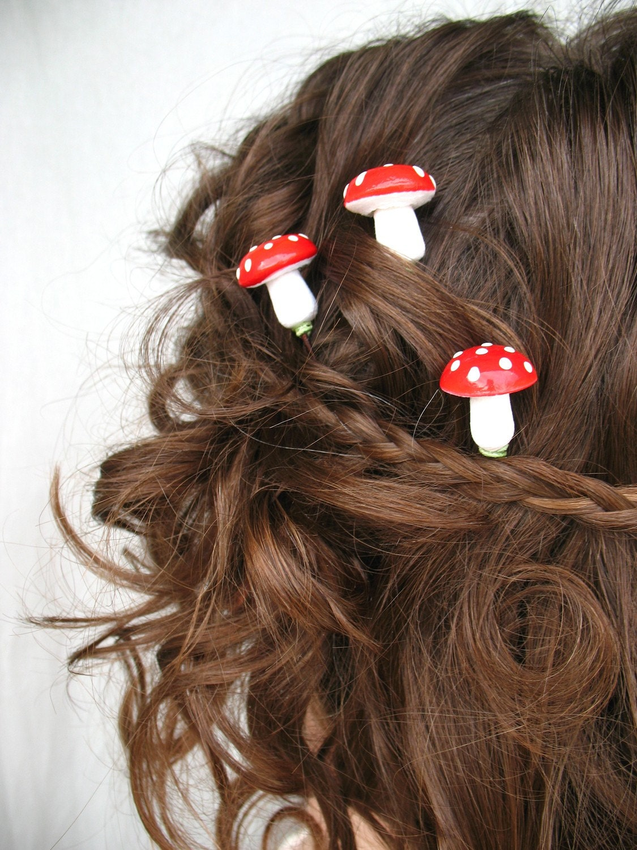 the faerie ring . three mushroom hair bobbies . hair clips .  red and white amanita muscaria
