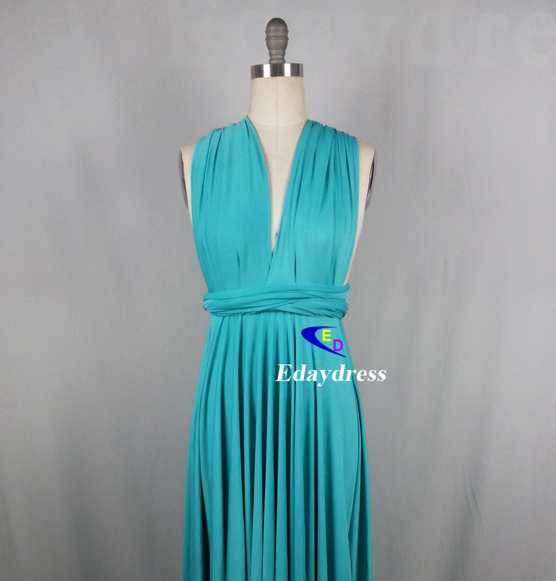 Dress tiffany blue floor length wrap convertible dress wedding dress