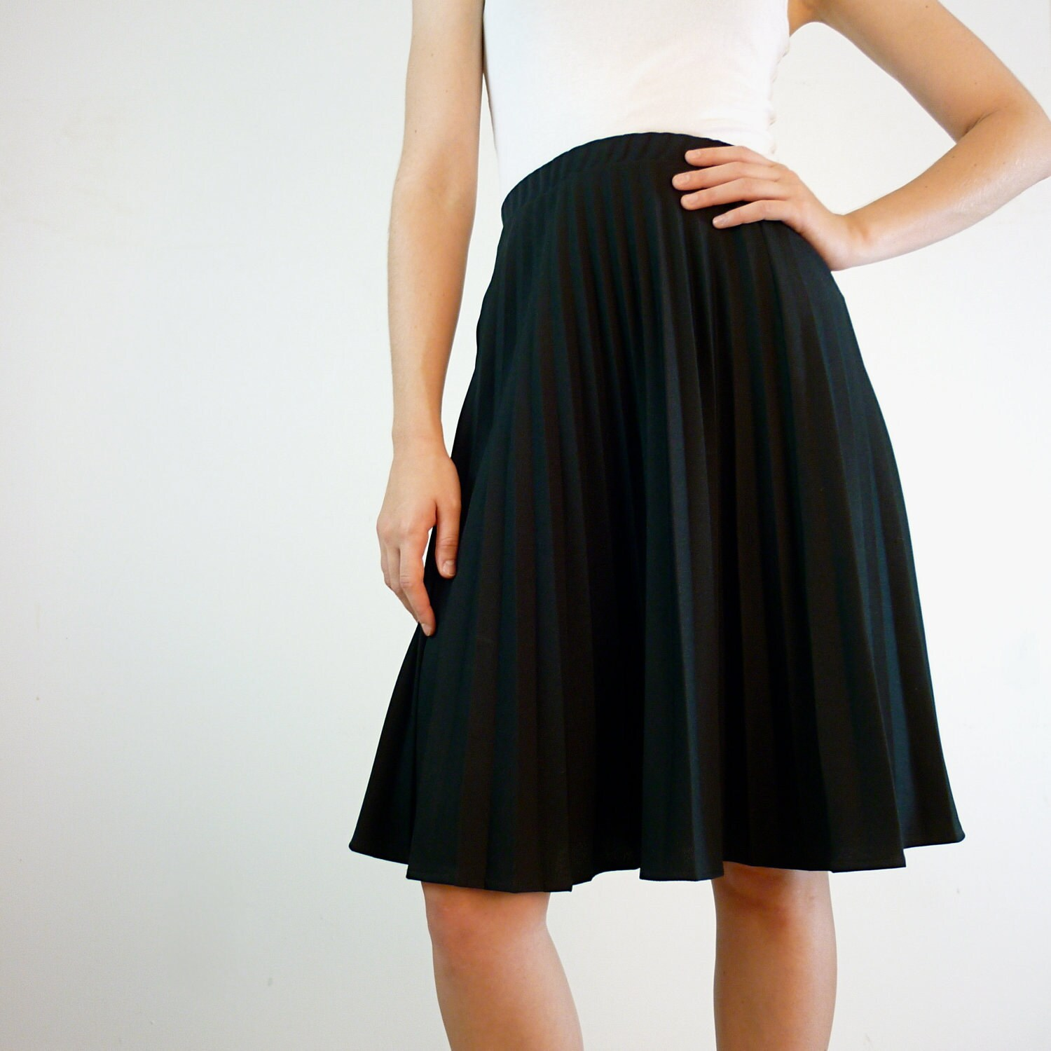 black pleated skirt plus size accordion pleated by