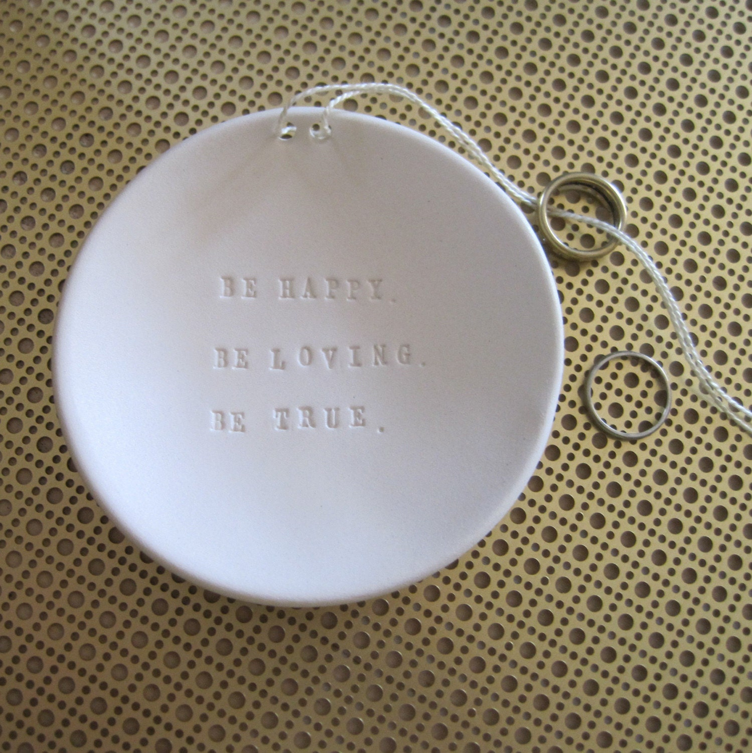 Be Happy. Be Loving. Be True.  Ring Bearer Bowl (TM) wedding or commitment ceremony dish - the original design by Paloma's Nest
