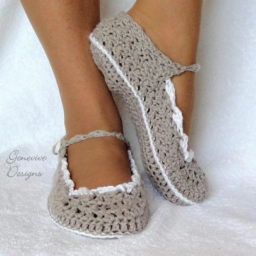 Womens Kids Slippers Crochet Pattern 21 (Skinny Flats)
