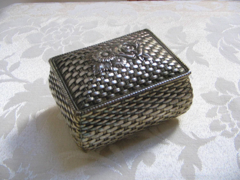 Basket Weaving Jewelry : Vintage metal trinket box basket weave by vintagenowandthen